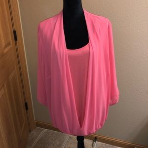 AGB pink sheer blouse